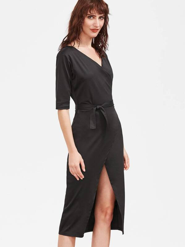 452015d046c1 Black V Neck Wrap Dress -SheIn(Sheinside)