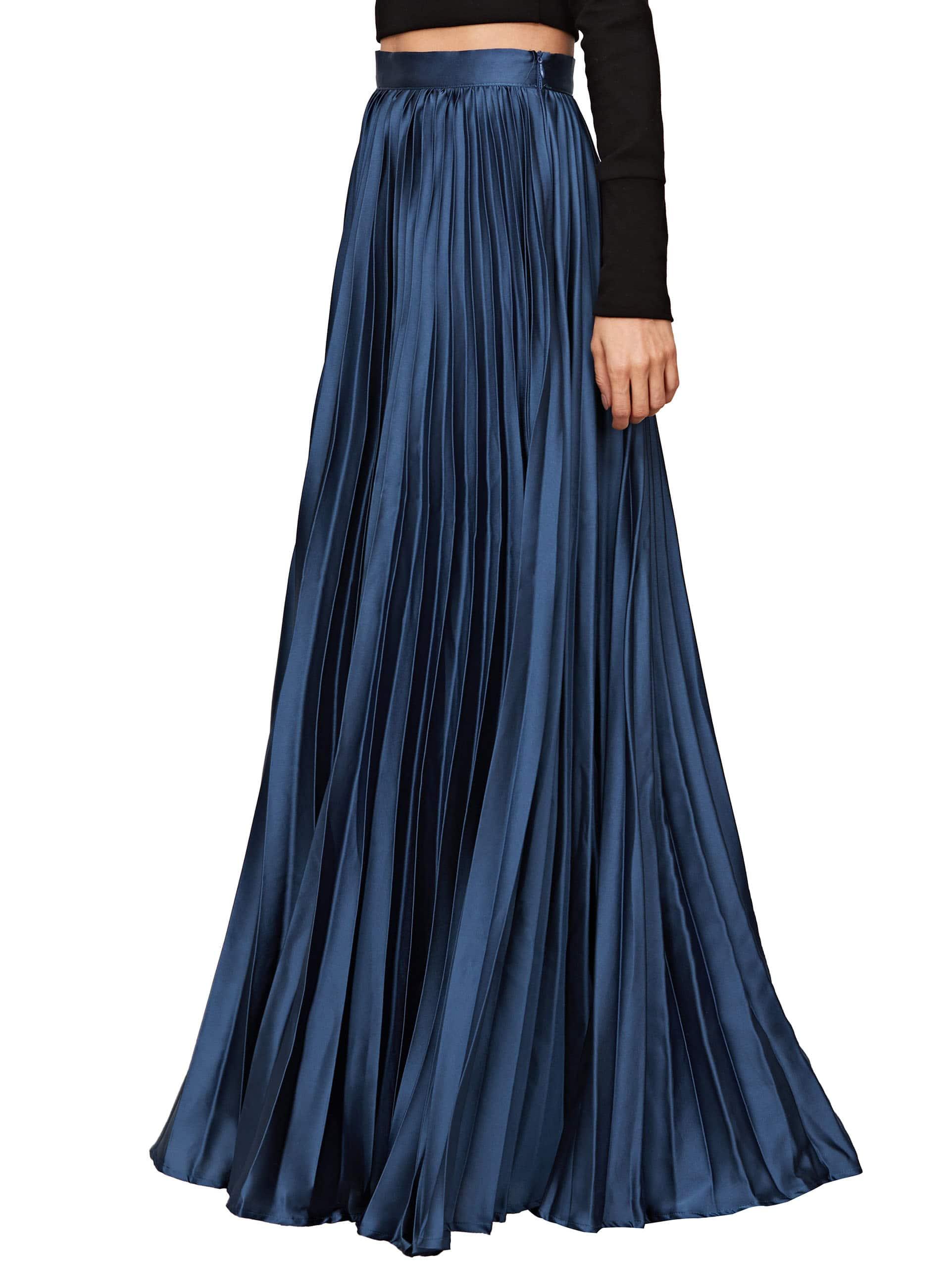Satin Pleated Full Length Skirt -SheIn(Sheinside)