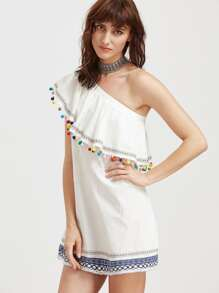 Embroidered Tape And Pom Pom Detail One Shoulder Dress pictures