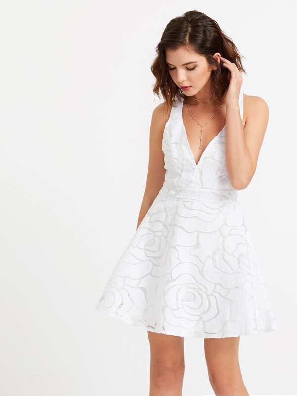 Weißes Kleid mit tiefem V-Ausschnitt aus Netzstoff- German SheIn ...