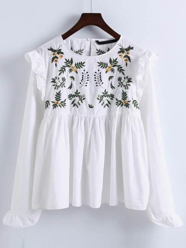 86e3babd24ec7e Embroidery Ruffle Trim Pleated Blouse