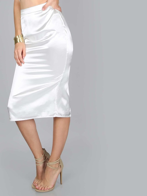 3ab50293c1 High Waisted Satin Skirt IVORY | SHEIN UK