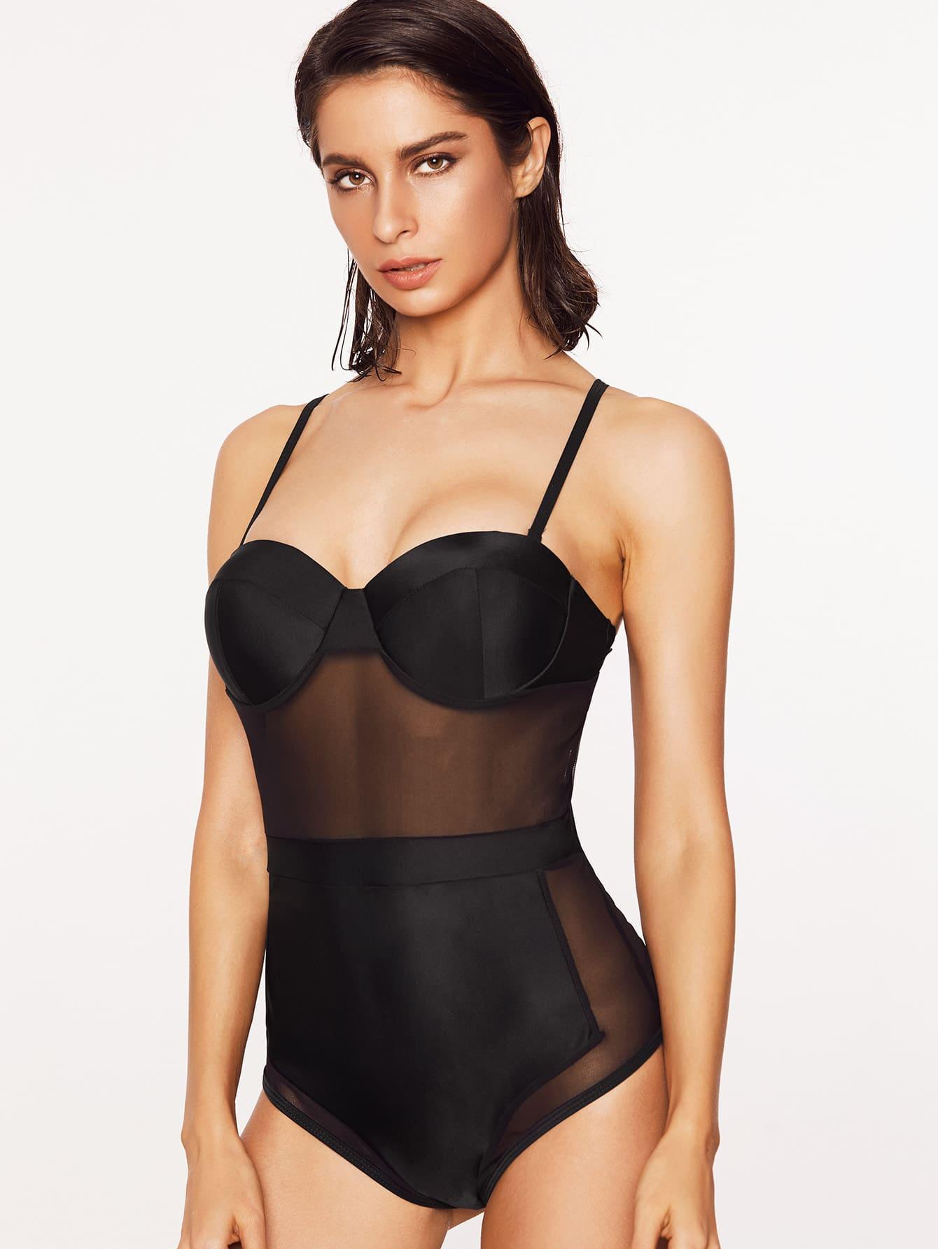 Sheer Mesh Design Bustier Swimsuit Shein Sheinside