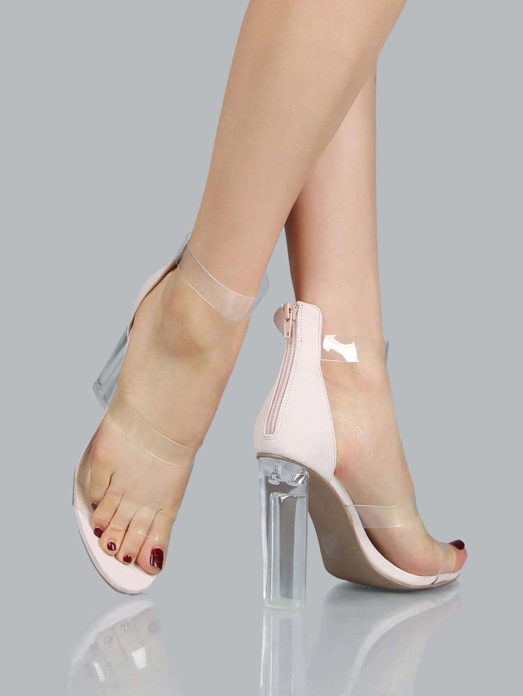 a640989b724 Triple Clear Strap Perspex Heels NUDE