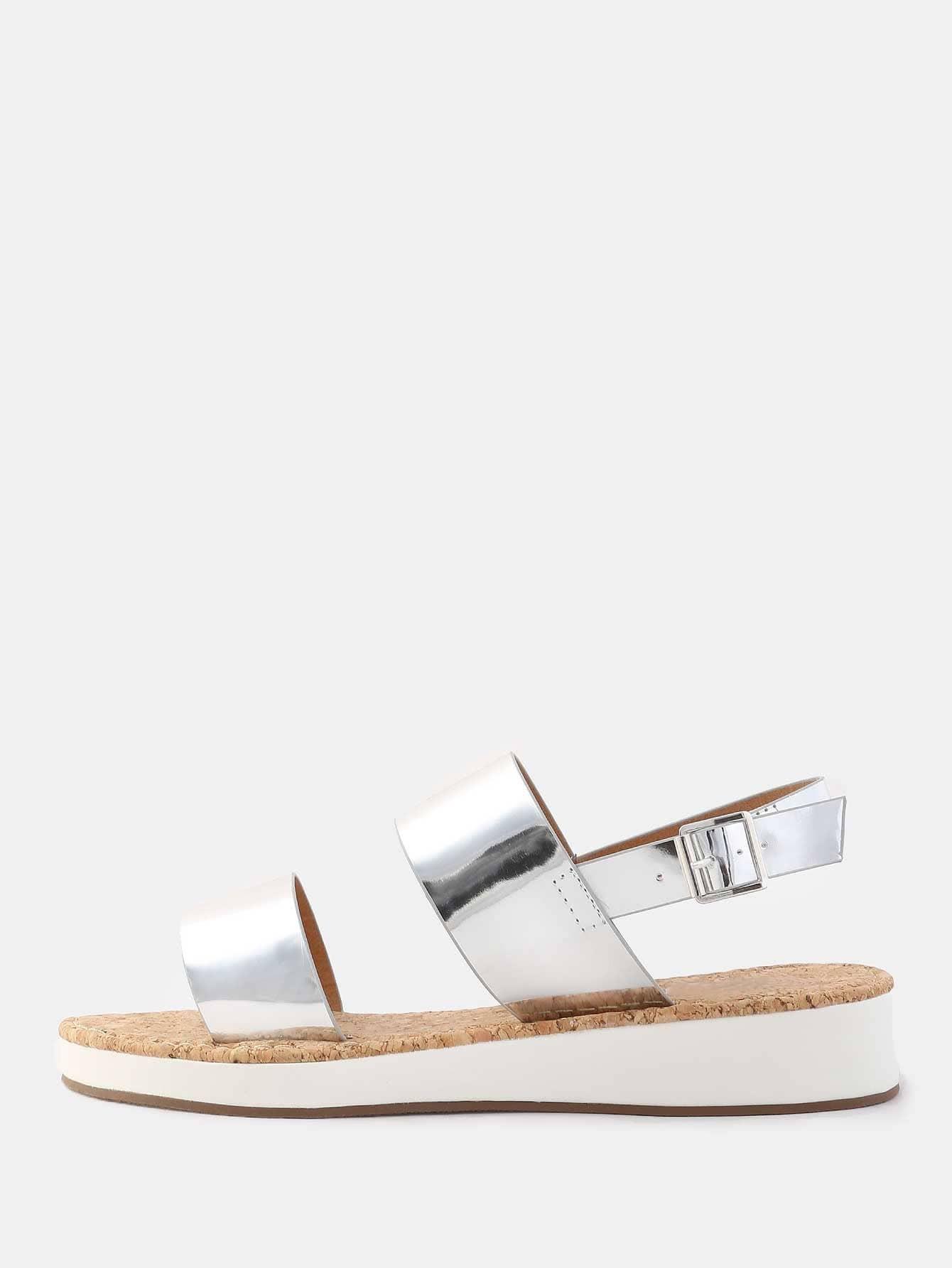 dec6124aea2e Open Toe Duo Strap Metallic Sandals SILVER