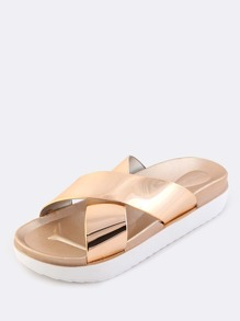 9240dfe720d Metallic Criss Cross Sandals ROSE GOLD