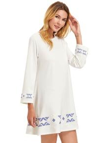 68de0bd577 Beige Floral Print Long Sleeve A Line Dress | SHEIN UK