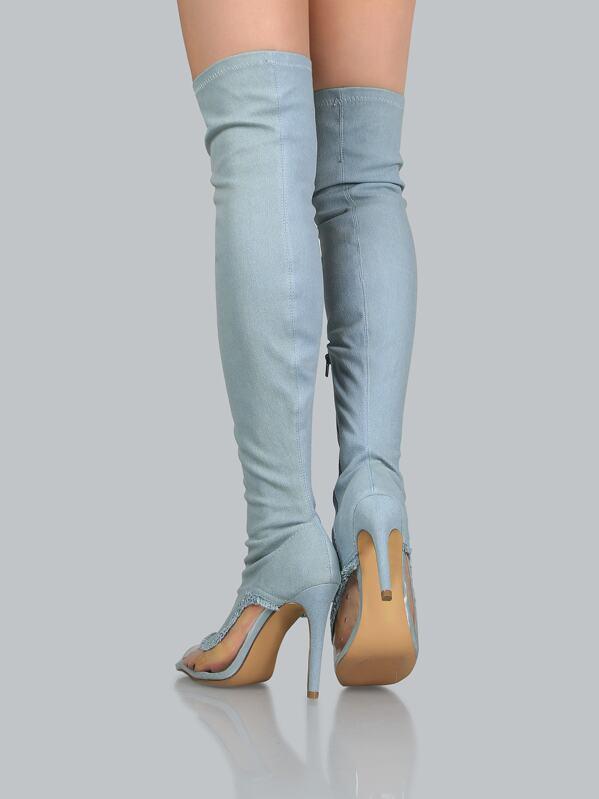 73897d7029f Frayed Peep Toe Thigh High Boots DENIM