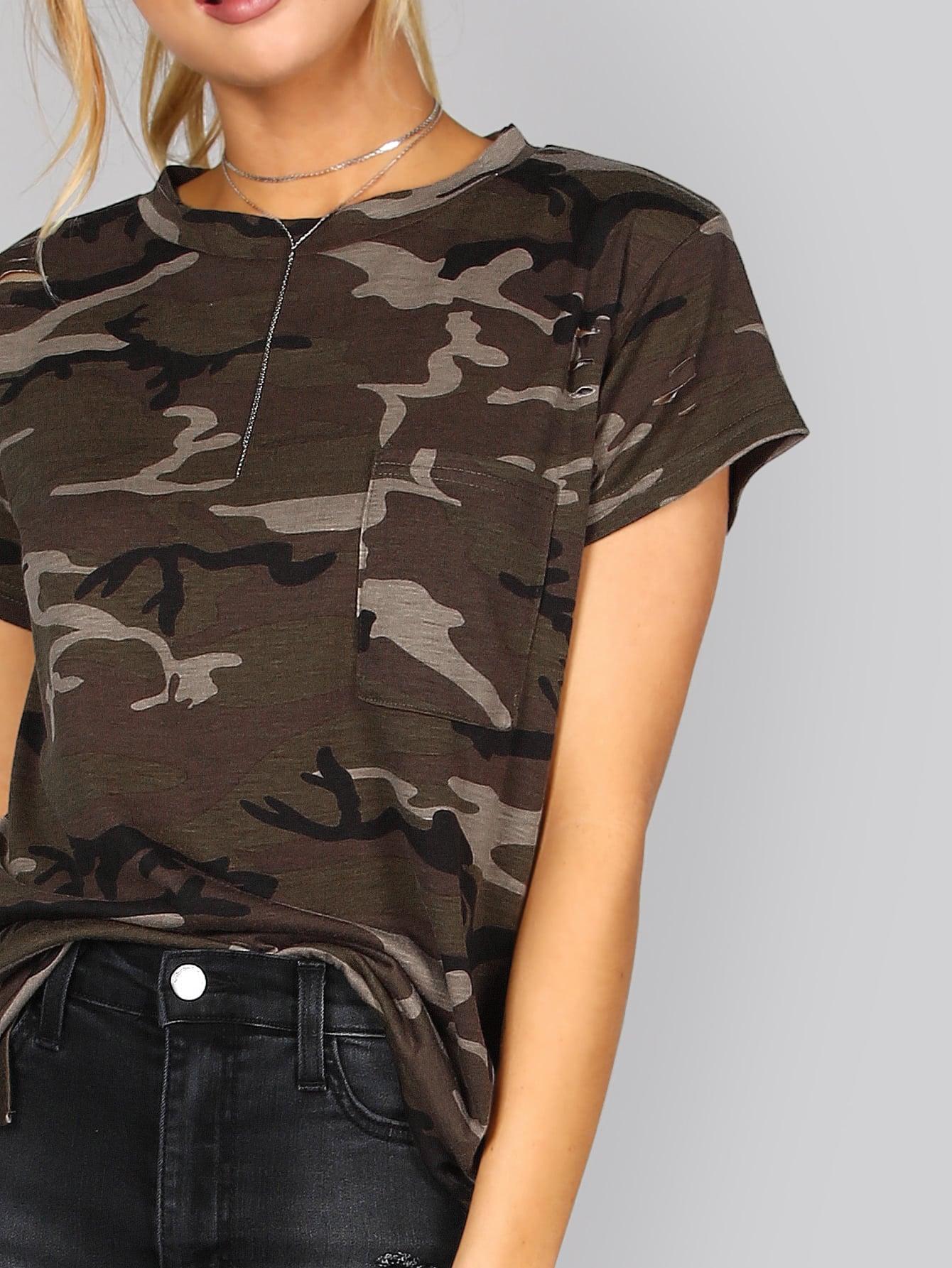 Slashed Camouflage Pocket Tee
