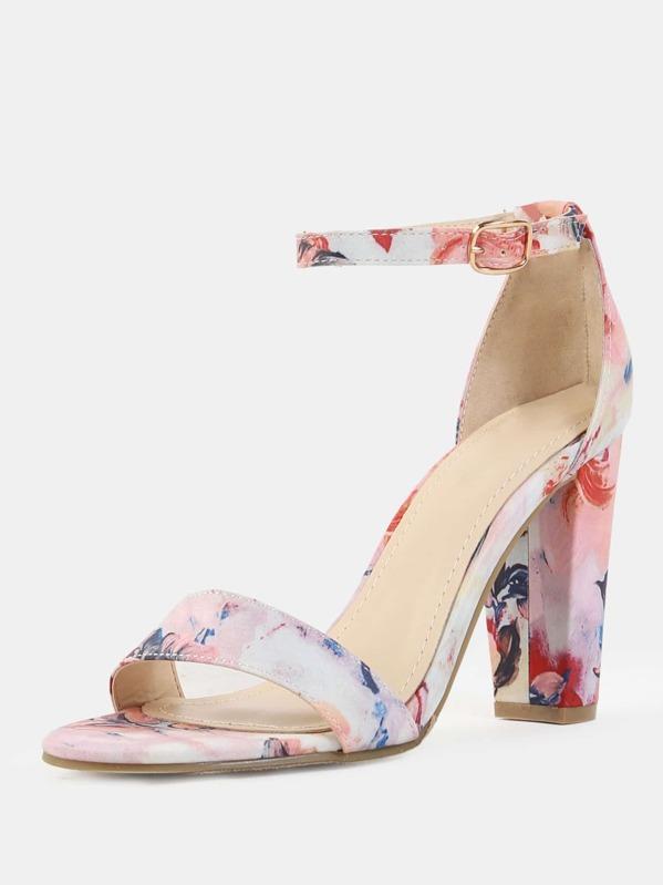 7bbf719f0c Floral Open Toe Chunky Heels BLUSH | SHEIN