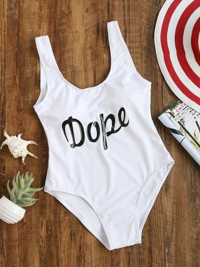 aa48dfc10c1fb Letter Print One-Piece Swimwear | SHEIN