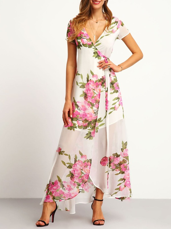 3d646837ec Floral Print Wrap Maxi Dress | SHEIN