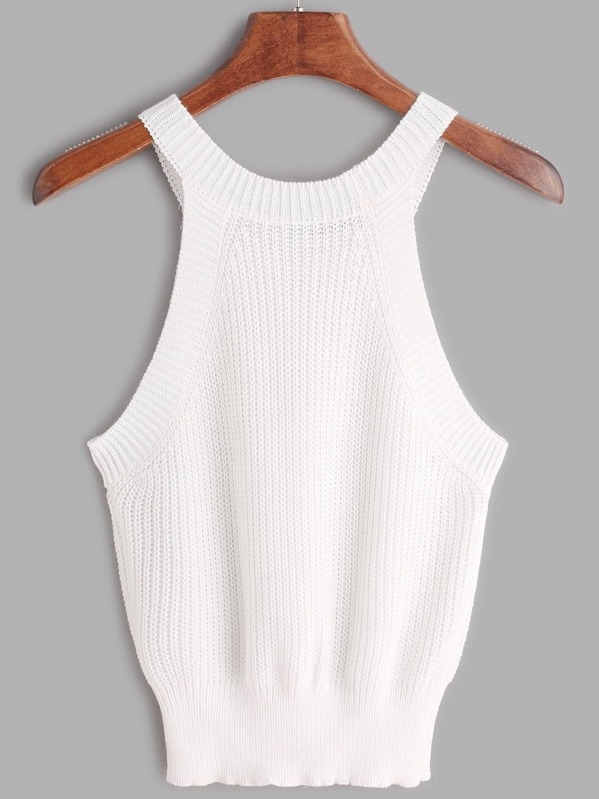 Ribbed Trim Knit Halter Neck Top -SheIn(Sheinside)
