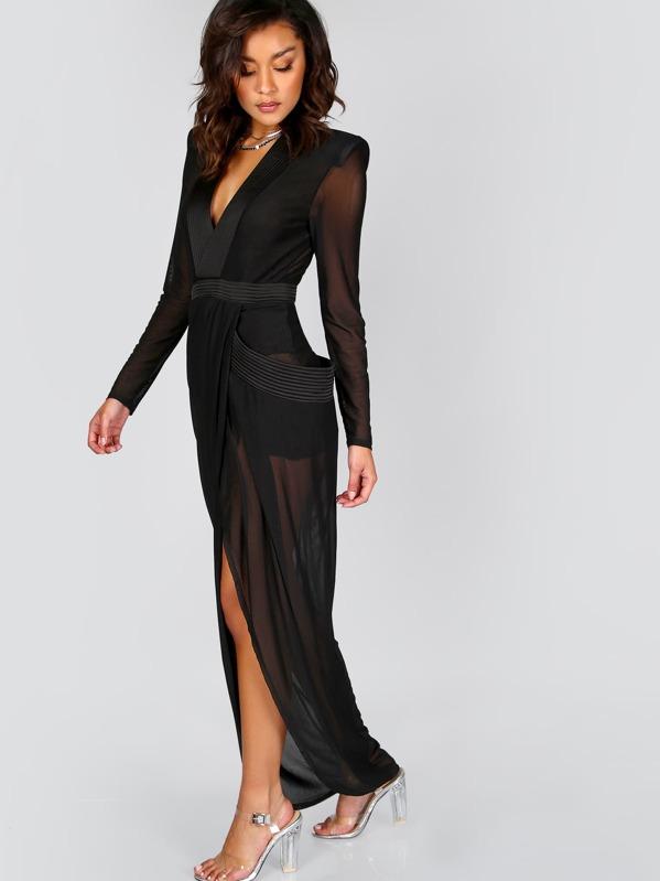 Deep V Neck Shoulder Pads Sheer Wrap Dress Sheinsheinside
