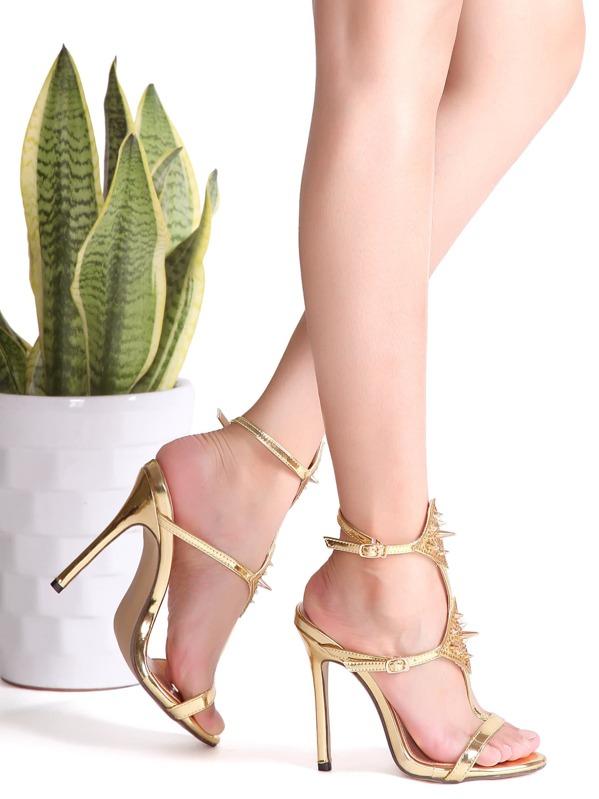 High Sandals Rivet Studded Gold Heeled LA3qc4j5RS