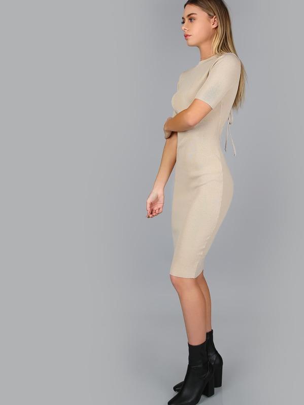 3e30b0cc0fc Lace Up Ribbed Midi Dress NUDE