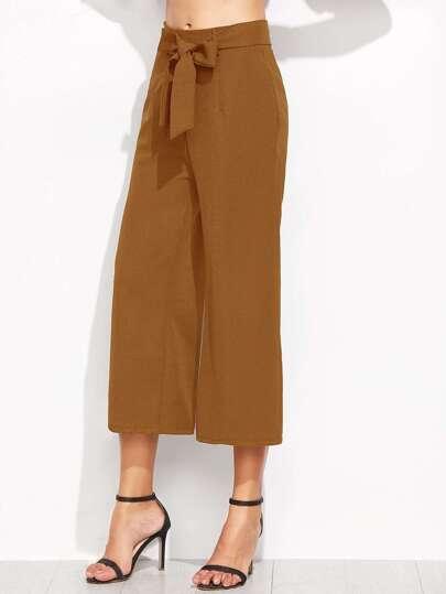 Brown Self Tie Wide Leg Pants -SheIn(Sheinside)
