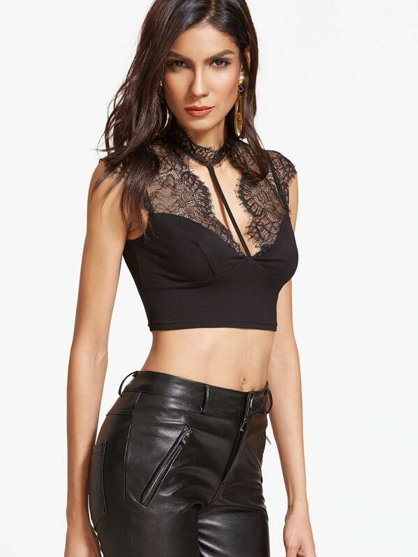 2bc7bf797dabe Lace Shoulder Open Back Strappy Crop Top