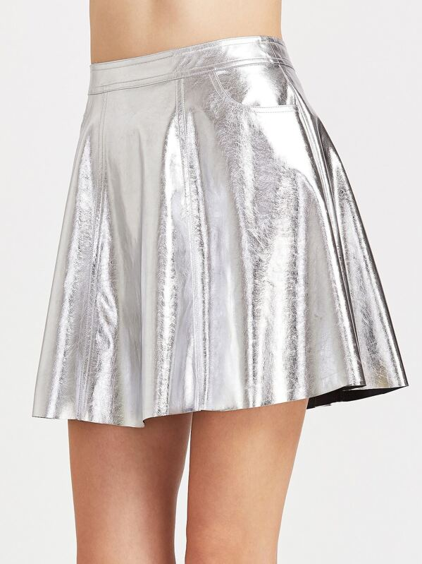 d50bde0efb Metallic Silver Faux Leather Flare Skirt   SHEIN UK