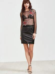 Mesh Insert Faux Leather Skirt pictures