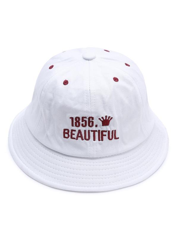 cfc43d27b70b1 Sombrero de ala ancha con bordado de letra - blanco -Spanish  SheIn(Sheinside)