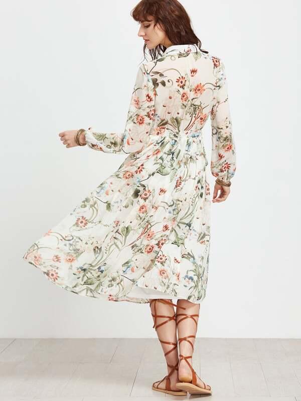 Weißes Kleid mit Blumen und Selbstbindung- German SheIn(Sheinside)