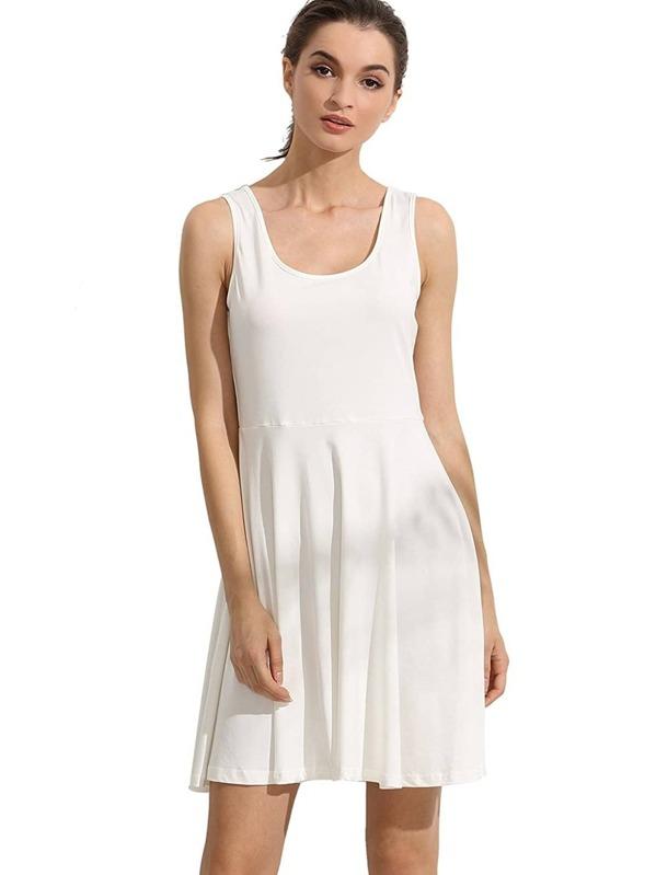 8e584afe71e9 White Sleeveless Plain Casual Skater Dress