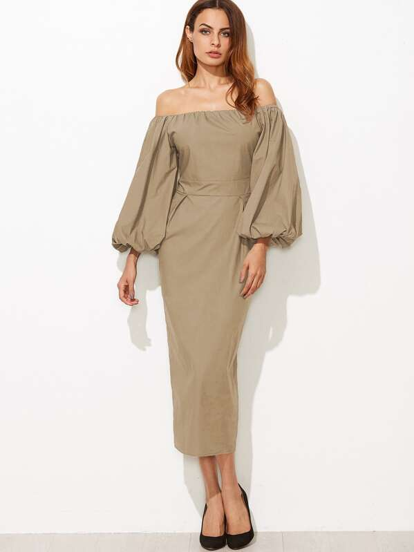 f72b4bdf91a7 Cheap Khaki Off The Shoulder Lantern Sleeve Pencil Dress for sale Australia