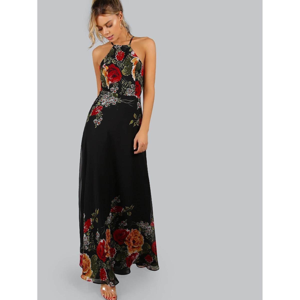 Black Flower Print Halter Neck Open Back Maxi Dress