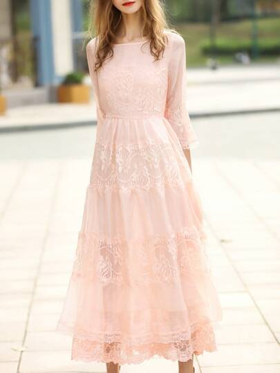 Apricot Crew Neck Sheer Lace Maxi Dress