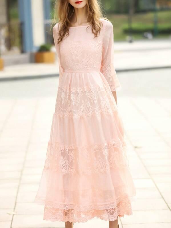 0c723feb38 Apricot Crew Neck Sheer Lace Maxi Dress   SHEIN