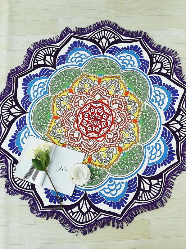 Cheap Lotus Flower Shape Fringe Trim Beach Blanket For Sale