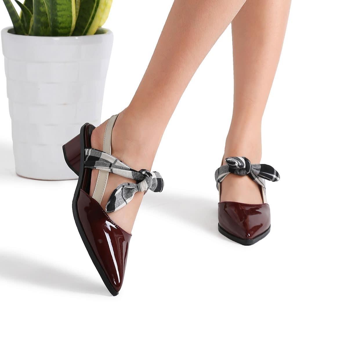 - Burgundy Plaid Tie Patent Leather Chunky Heel Pumps