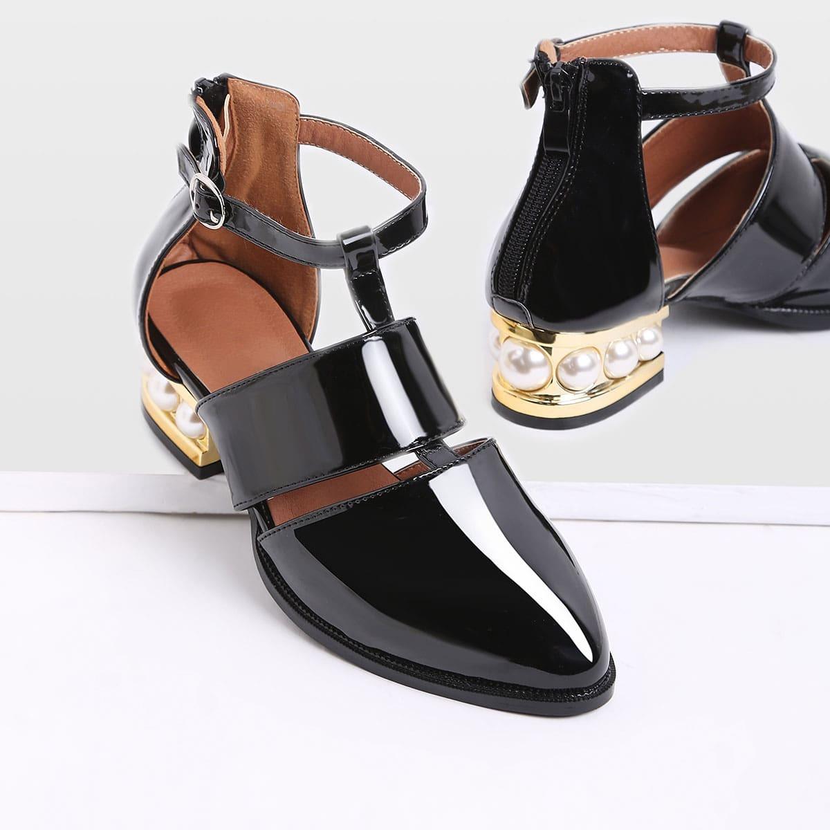- Black Pearl Design Back Zipper Patent Leather Shoes