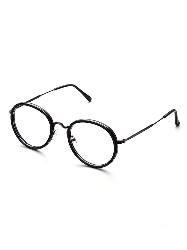 d5fef42253 Gafas de sol vintage con marco negro y lentes transparente -Spanish SheIn( Sheinside)