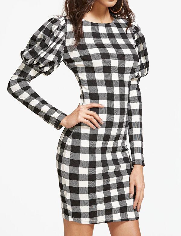 260c77f317 Vestido entallado de cuadros con manga de farol - negro blanco ...