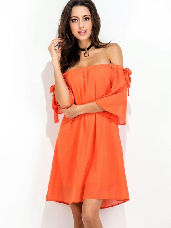 17391615f2a6f Robe épaules dénudées orange avec des nœuds
