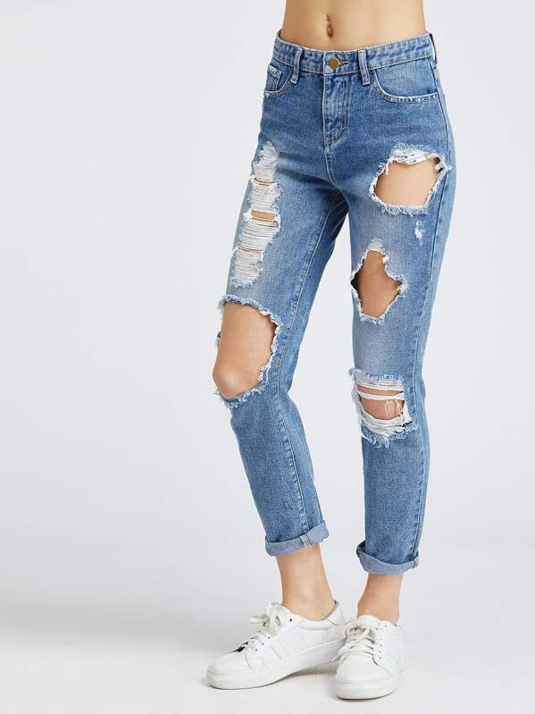 Bleach Wash Distressed Boyfriend Jeans, Blue, Tati