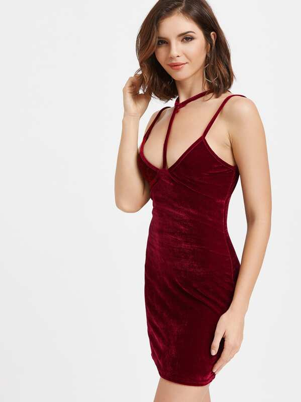 220aa76d27c Burgundy Velvet Choker Strap Bodycon Dress -SheIn(Sheinside)