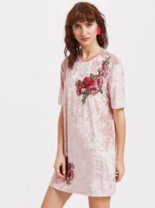 36978ec76149 vestito di velluto con borato e patch - rosa
