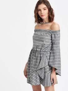 Grey Striped Off The Shoulder Bell Sleeve Ruffle Dress pictures