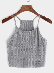 Ribbed Knit Racer Back Cami Top ROMWE