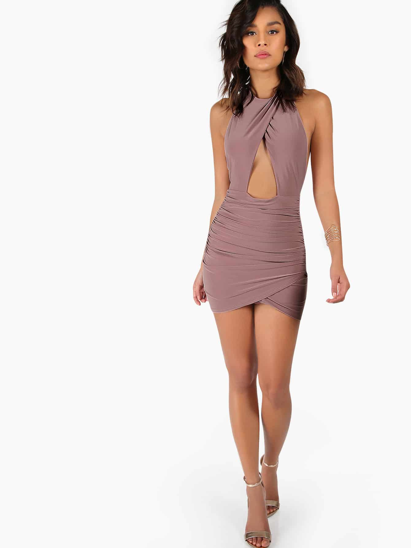 f76112b894 Backless Ruched Peakaboo Halter Dress | SHEIN IN