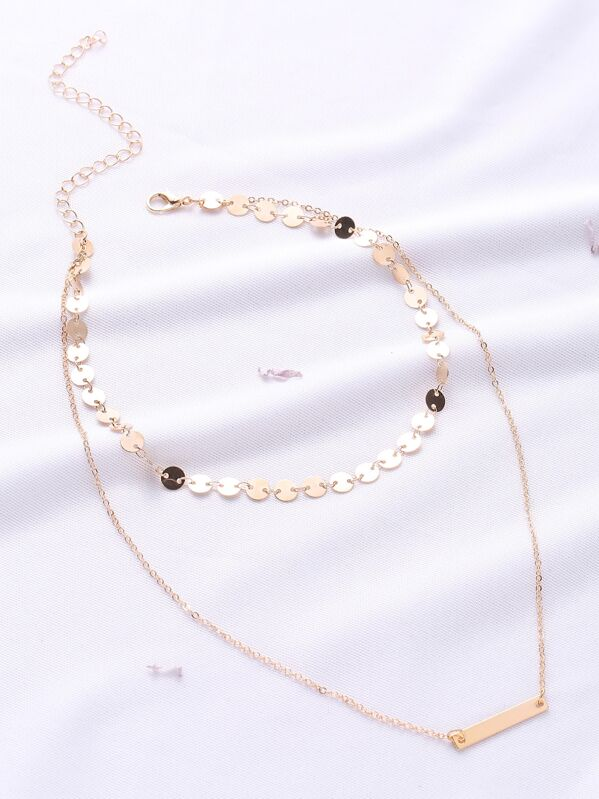 0f25962241 Gold Coin Detail Layered Chain Necklace -SheIn(Sheinside)