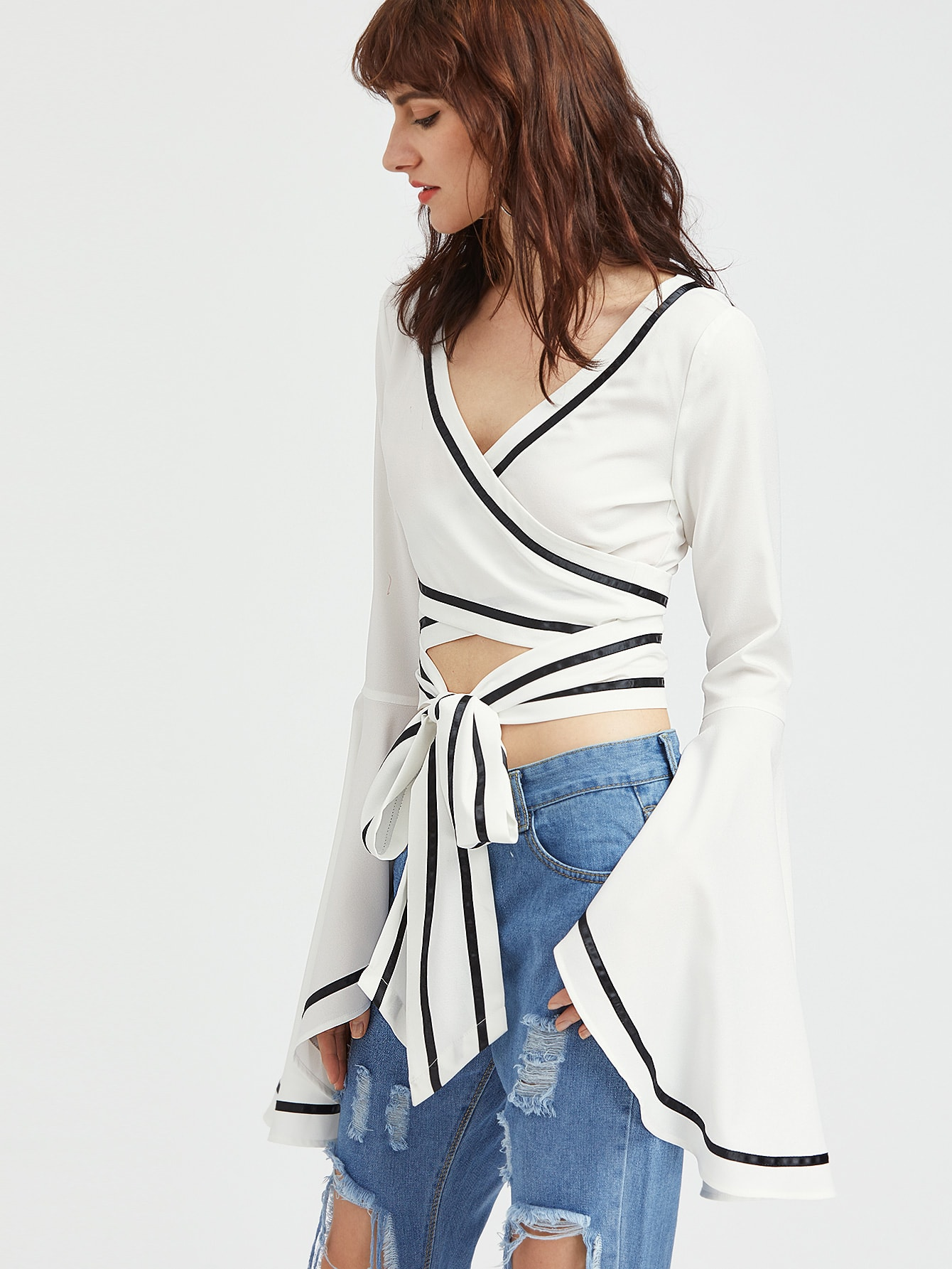 Contrast Binding Drama Sleeve Cross Wrap Top
