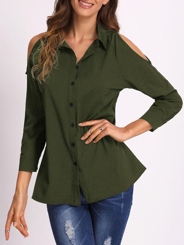 a73ccfdf70258 Blusa con hombro abierto - verde militar