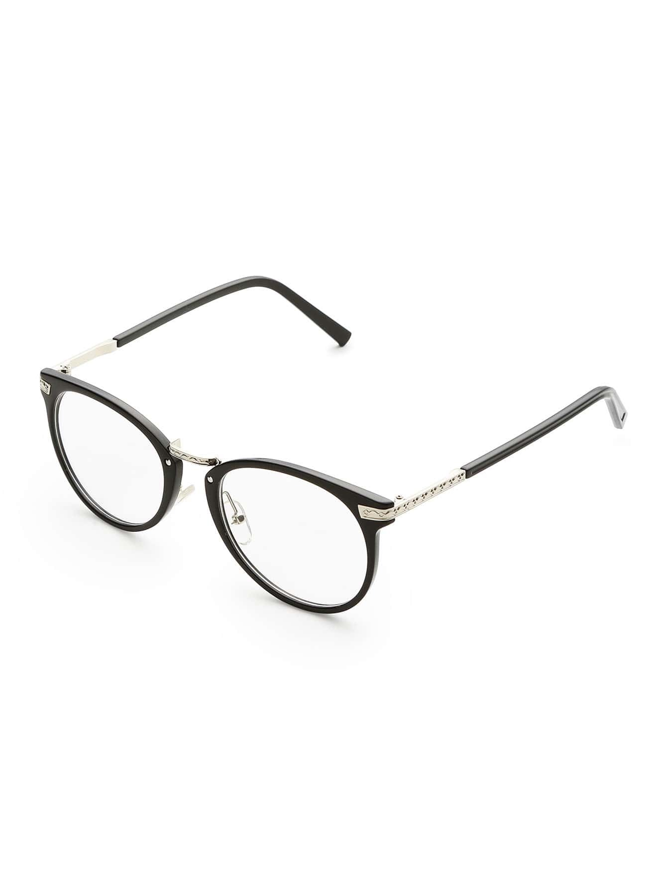 Black Frame Metal Arm Clear Lens Glasses -SheIn(Sheinside)