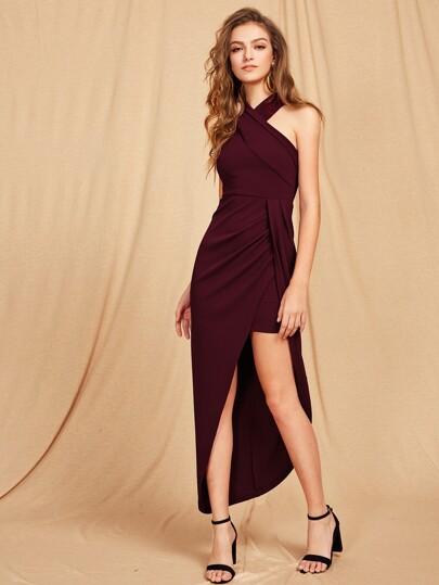 f49616cff4 Cross Halterneck Asymmetrical Maxi Dress