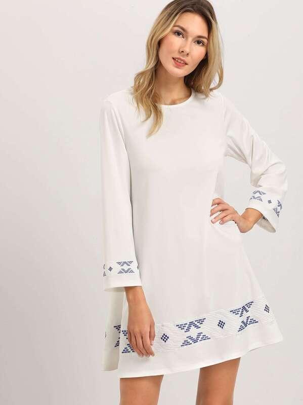 fa77a0aae0 Beige Floral Print Long Sleeve A Line Dress | SHEIN