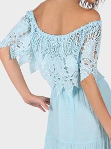 79802c27de Off Shoulder Tiered Lace Maxi Dress AQUA | SHEIN UK